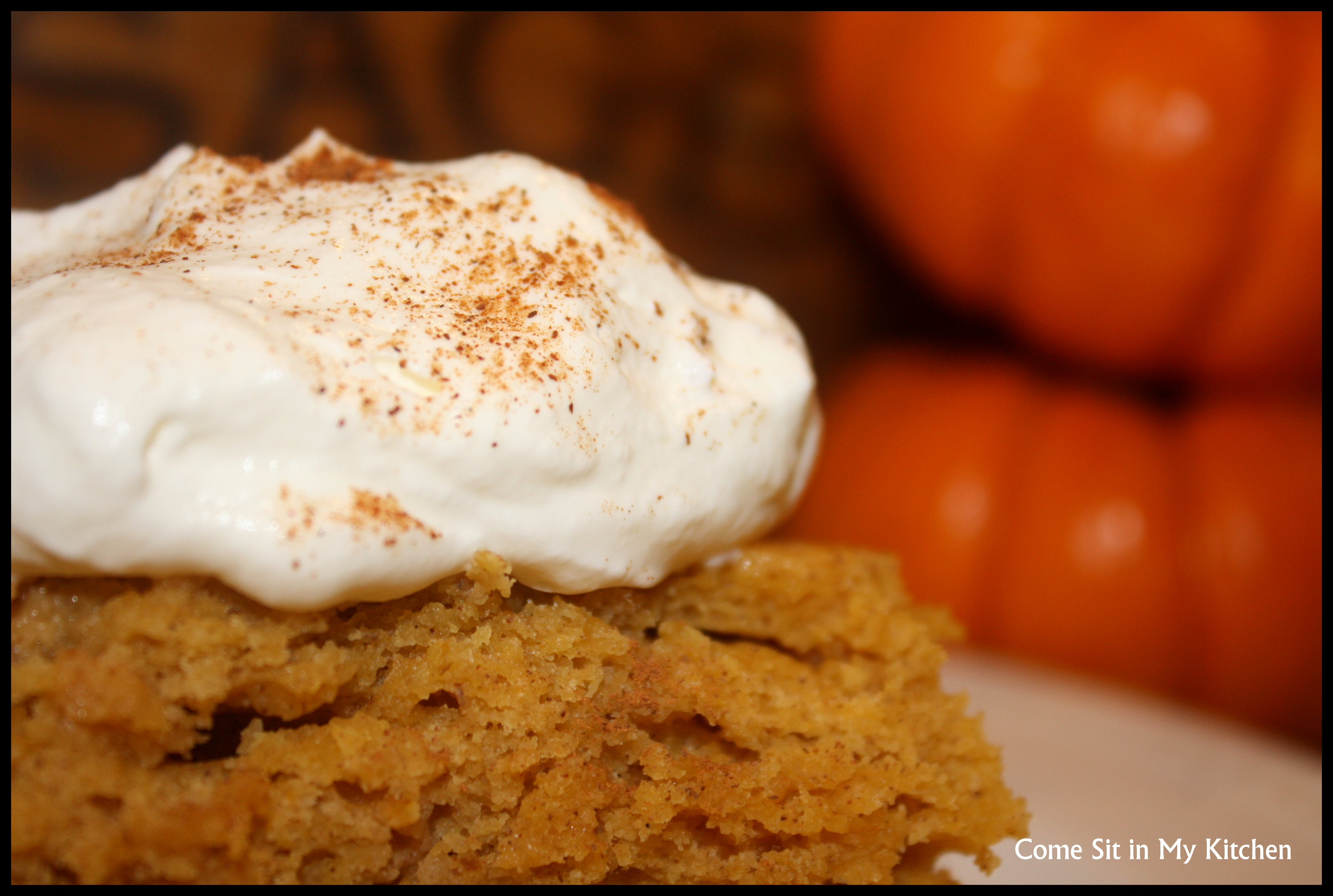 Pumpkin Cake with Maple Syrup Whipped Cream | Come Sit in My Kitchen
